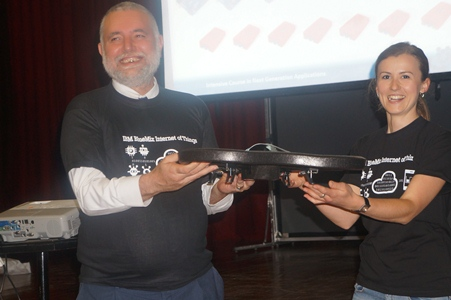 Dr. Joseph Sevilla Receiving a Drone from Maria Kacerikova of IBM