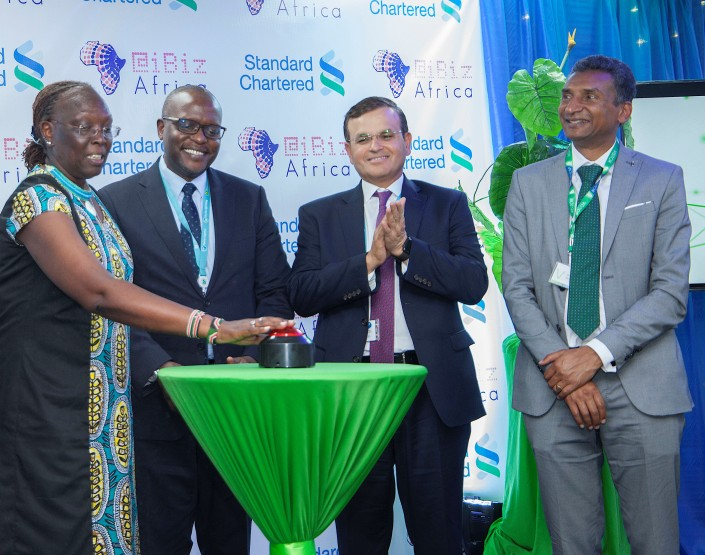 From left, Principal Secretary in the Ministry of Industry and Trade Betty Maina ,Standard Chartered Bank CEO Kariuki Ngari, the bank's CEO Africa and Middle East Sunil Kaushal and Vincent Ogutu VC designate (1)